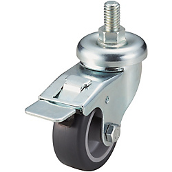 Screw-In Casters - Light Load - Wheel Material: TPE - Swivel with Stopper