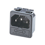 Panel Mount Socket Clip Fastening Socket with FUse Holder - C14 Male (MISUMI)