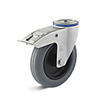 Swivel castor with double stop and back hole, thermoplastic wheel