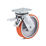 Swivel castor with double stop and polyurethane wheel