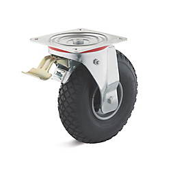 Swivel castor with double stop and airwheel