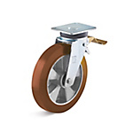 Swivel castor with double stop in the flow and polyurethane wheel