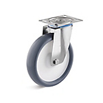 Stainless steel swivel castor with thermoplastic wheel