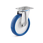 Stainless steel swivel castor with polyurethane wheel