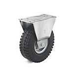 Fixed caster with super-elastic wheel, on sheet steel care, 3-component tires