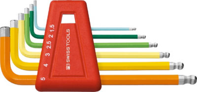 PB Swiss Tools PB 212H10RB with Colour Ball-end short Hex Wrench 1.5-10mm Set