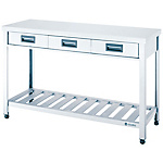 Stainless Steel Workbench, Drainboard Type, with Drawers, SUS430 Uniform Load (kg) 240