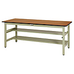 Work table 300 series (fixed H740 mm with two mid level half surface shelves)