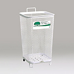 Stainless Steel Wastebasket Ground Corner 440 Square R Wheel-Attached