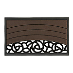 Entranceway Square Mat S Rose Pattern Brown